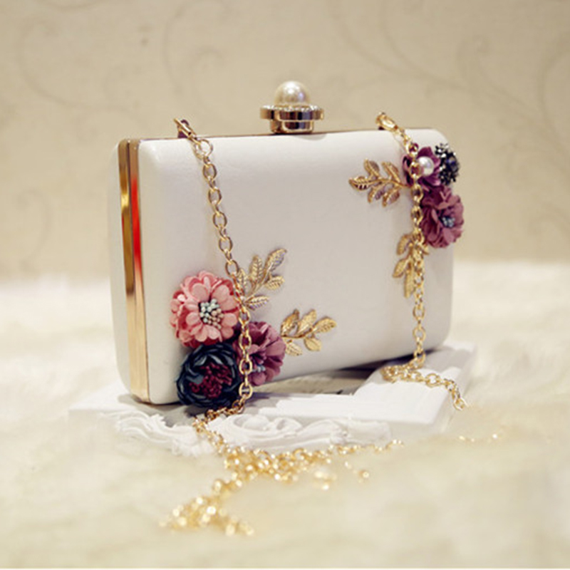 WCS-Fashion Women Leather Evening Bag Dinner Party Lady Wedding Flower Clutch Purse(white)