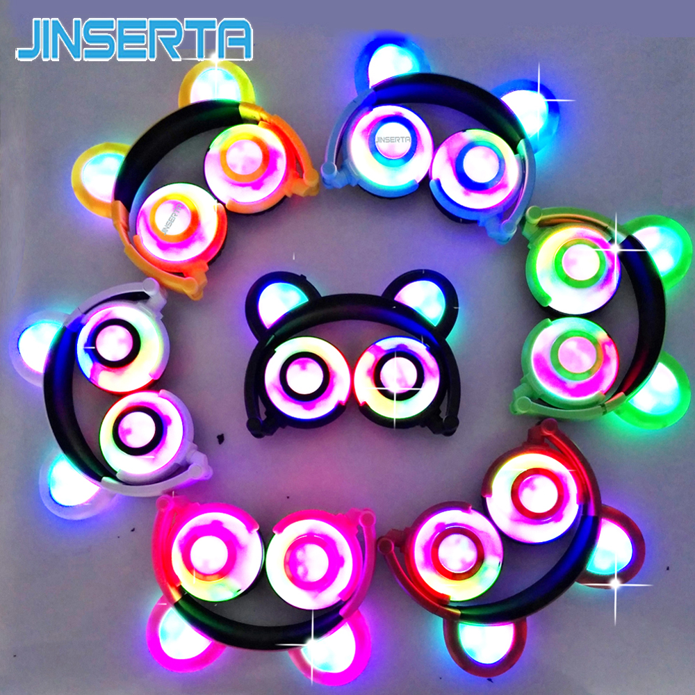 JINSERTA 2019 Flashing Glowing Bear Headphones Gaming Headset LED light with Microphone Handsfree For Laptop Phone Cosplay Party