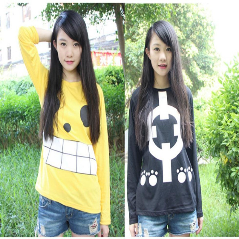 2015 Girls Autumn New Kawaii T-shirt Tops Long Sleeve Anime One Piece Tees For Unisex Wholesale Sale