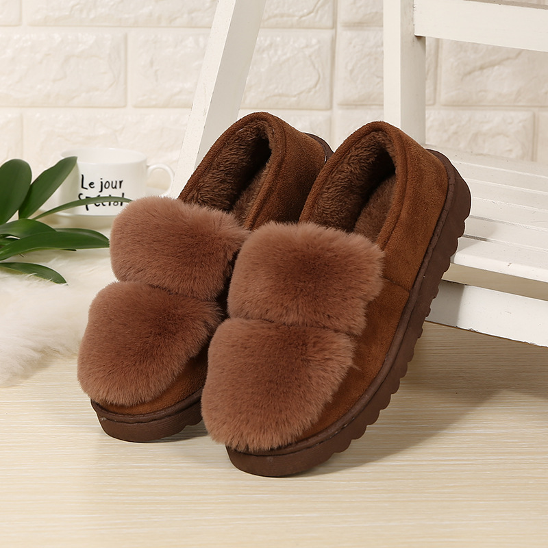 2018 Fashion Women Home Slippers with Fur Intdoor Women Winter Shoes Female Ladies Cotton Warm Winter Slippers CJ246