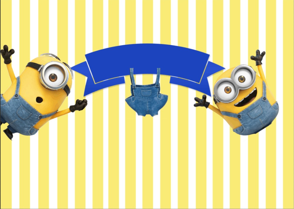 7x5ft Blue Stripes Minions Trousers Blue Ribbons Baby