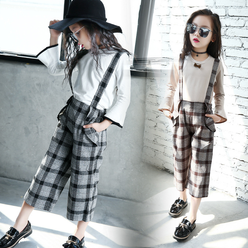 Girl Autumn Clothing New Pattern Children Long Sleeve T-shirts + Wide Leg Pants Suit Girl Salopettes 2 Pieces Sets