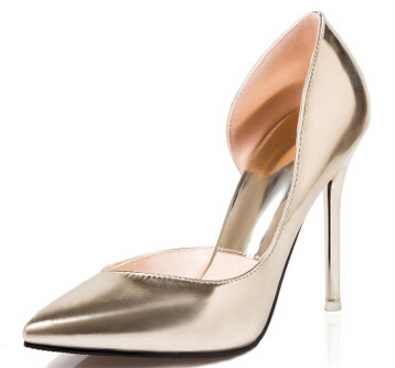 Gold silver sexy side open pumps shoes for font b woman b font WY065 classic brand