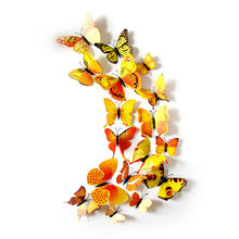 12pcs Yellow Butterfly Party Diy Decorations Stickers Children Kids DIY Craft Home Party Holiday Decoration Room Wall Art(China)