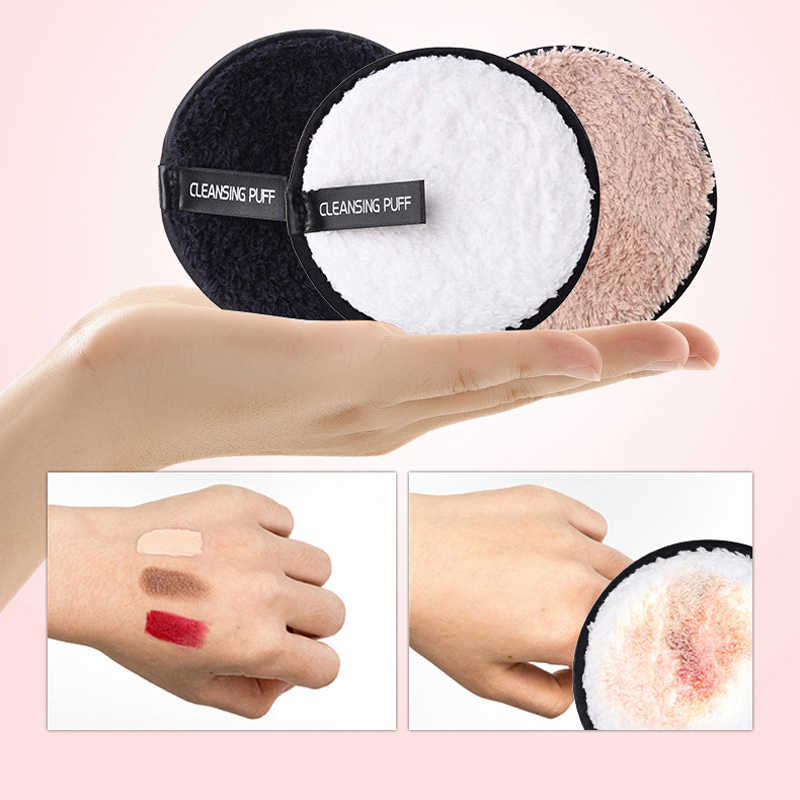 1pcs Soft Microfiber Lazy Makeup Remover Puff Double Sided Makeup Sponge Pads Easy to Use Facial Wash Puff Beauty Make Up Tools