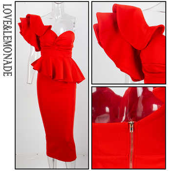 Love&Lemonade Red One-Shoulder Ruffle Trim Two-Pieces Slim Set LM1192
