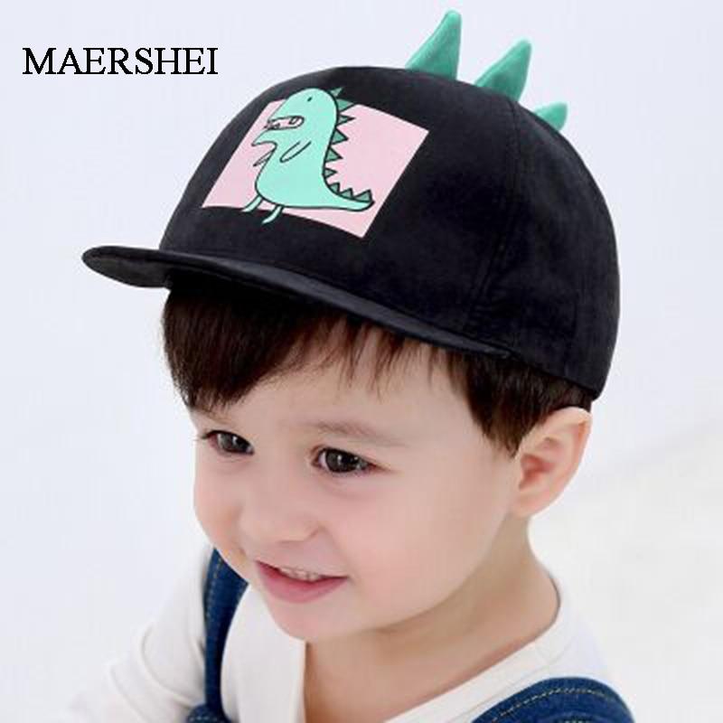 MAERSHEI Baby Child Hat Hat Casquette Cute Dinosaur Boy Girl   Baseball     Cap   Kids Cotton Adjustable   Cap   Snapback Black Hip hop hats