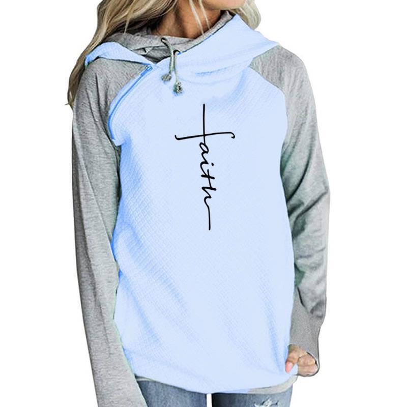 Sudadera con capucha bordada con letras de fe Sudadera con capucha de manga larga para mujer