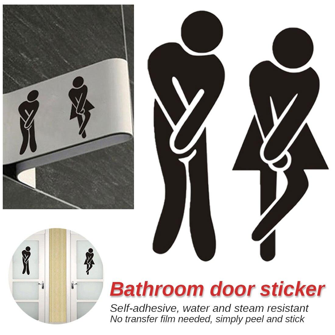 High Quality Wall Stickers Removable Cute Man Woman Washroom Door Toilet WC Sticker Family DIY Decor Bathroom door sticker
