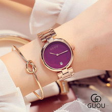 GUOU  Watch Women's Watches Rose Gold Watchband Ladies Watch Auto Date Women's Watches Clock saat reloj mujer  relogio feminino