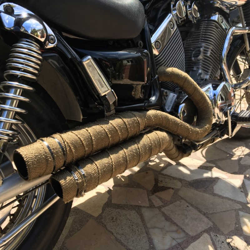 sclmotos motorcycle exhaust pipe header heat wrap resistant downpipe thermo turbo for car motorcycle fiberglass heat shield tape