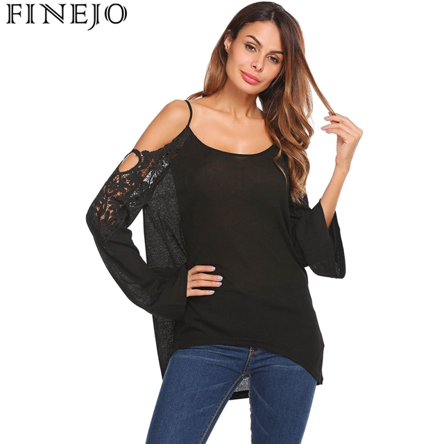 FINEJO Sexy Spaghetti Strap Lace Patchwork T-Shirt Cold Off the Shoulder  Long Flare Sleeve Fashion Women Tees T-Shirts Tops 5c8b55d89fb0