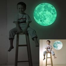 30cm Large Moon Glow in the Dark Luminous DIY Wall Sticker Living Home Decor Adesivo De Parede Vinilos Paredes Stickers Muraux