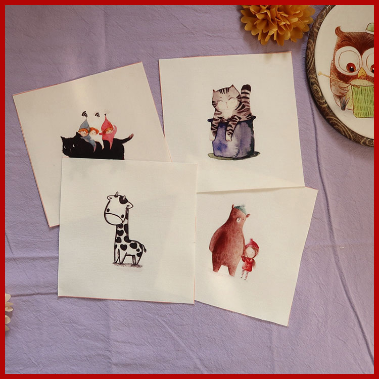z207 Cartoon cats patchwork sewing digital print fabric cotton tissues diy purse material home decora Frame Painting