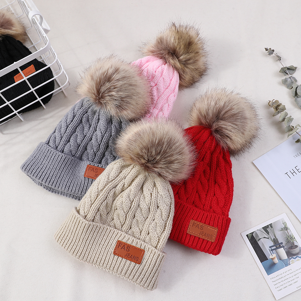 2018 Baby Beanie Hat Winter Toddler Warm Knitted Hat for Girl Baby Boys  Hats Fur Pompom 4ba213bf355