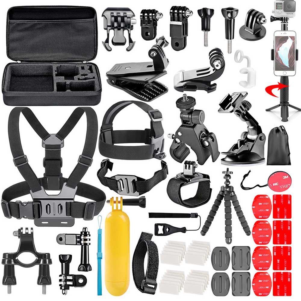 Gopro accessoires kit pour go pro hero 7 6 5 4 3 kit 3 voies selfie bâton pour Eken h8r/pour xiaomi pour yi EVA sport caméra ensemble