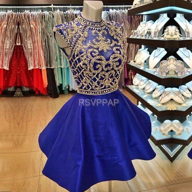 b5d775921 Mini Azul Real Vestido de Fiesta 2017 de Cuello Alto Manga Cap Perlas de  Oro Apliques