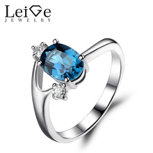 Leige Jewelry London Blue Topaz Ring Oval Cut Wedding Engagement Rings for Women Blue Gemstone J