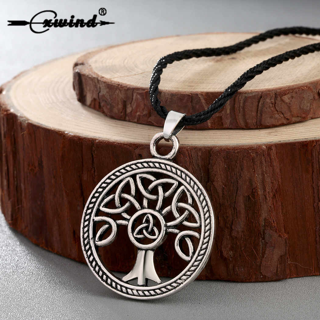 Cxwind Fashion Knot Necklaces Family Tree of Life Round Charm Knot Pendant Necklace Jewelry for Women Men Gift Retro Accessories