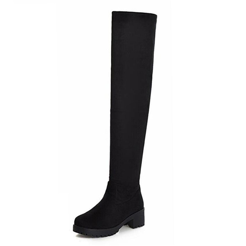 ФОТО Shoes Woman Boots Stretch Long Over The Knee Boots Womens Big Size 34-43 Thigh High Boots Heeled Shoe Woman Red Booties