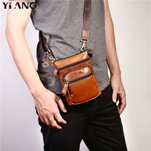 цены YIANG Brand Men's Genuine Leather Casual Cross body Shoulder Bags Men's Fashion Messenger Bag Waist Belt Pack Mobile Phones Bags