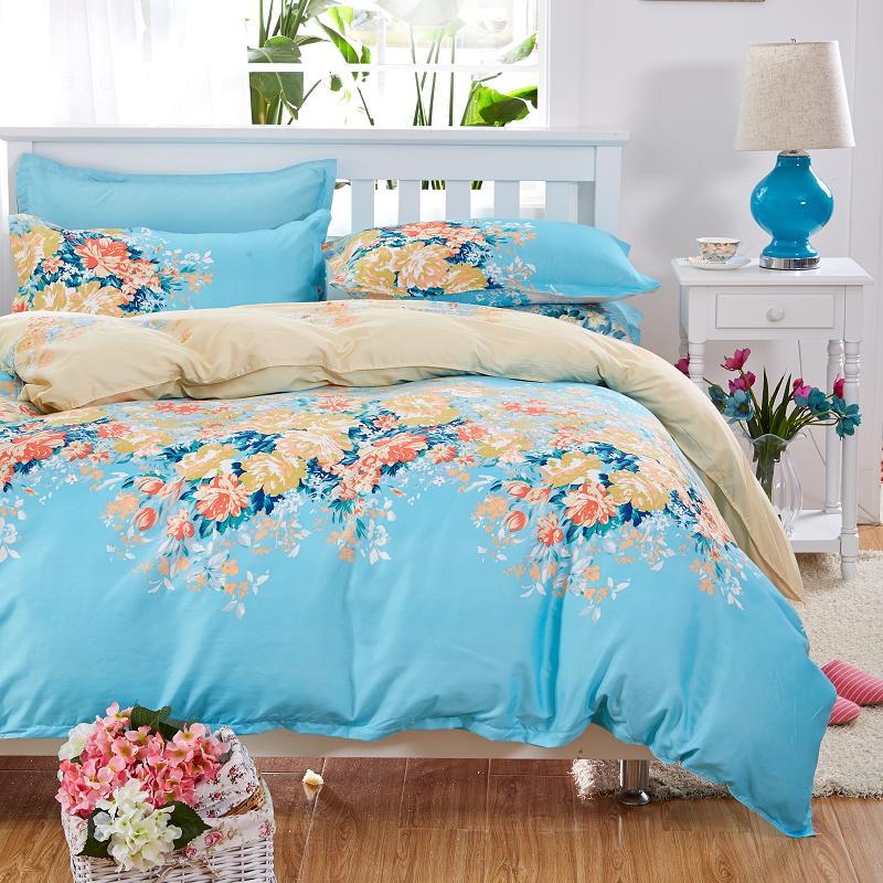 Elegant Floral Bedding Set Polyester Cotton Bed Linen Sets 4pcs Bedspreads  Kids Twin Size Blue Duvet Cover Bed Sheet Set In Bedding Sets From Home U0026  Garden ...