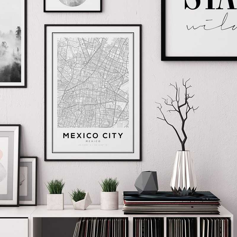 Mexico City Map Prints Art Canvas Painting Posters Travel Black and White Latitude Longitude Wall Art Pictures Home Wall Decor