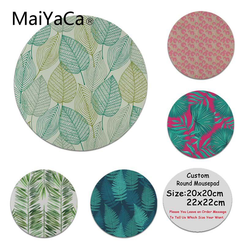 MaiYaCa Cool New Blue Green Leaves High Speed New Lockedge Mousepad Size for 200x200x2mm and 220x220x2mm Round Mousemats