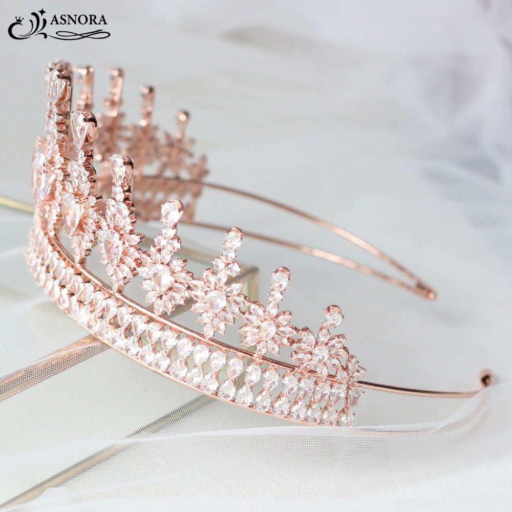 цена ASNORA Gorgeous Rose Gold Crowns Tiaras Zircon Crystals Diadema coroa de noiva Wedding Hair Accessories tiara nupcial