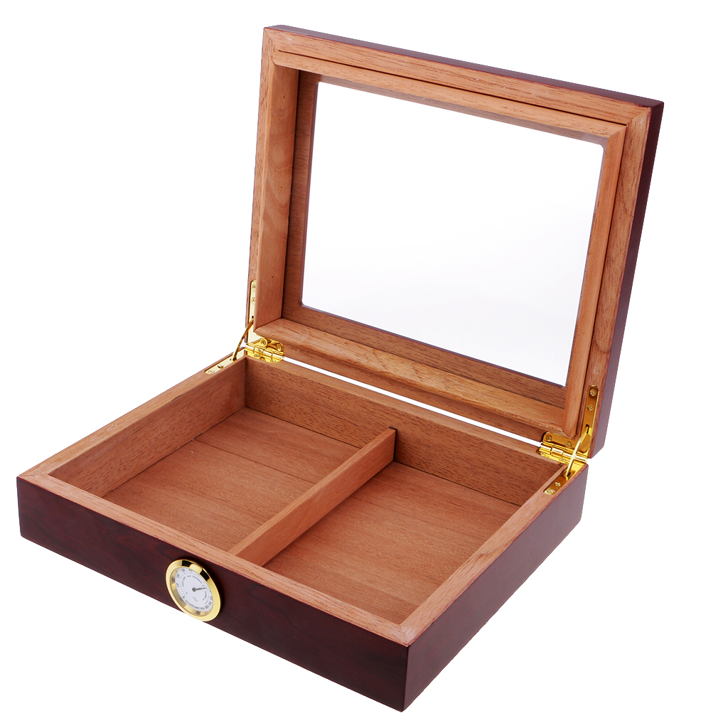 Portable Spain Cedar Cigar Case Wood Travel Cigar Humidor Set with Humidifier and Hygrometer Brown Storage