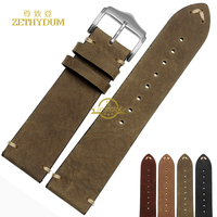 Retro Frosted Genuine Leather Bracelet Handmade Watchband Watch Band Wrist Watch Strap Wristwatches Width 20mm 22mm
