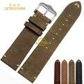 Retro Mate de cuero Genuino pulsera hecha a mano la venda de reloj Pulsera reloj de pulsera correa de anchura 20mm 22mm al por mayor