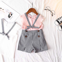 2018 Summer New Chiffon Fly Sleeve V-neck vest Top+ Plaid Pants Shorts Summer Beautiful Girls Suits For Children Kids Clothes