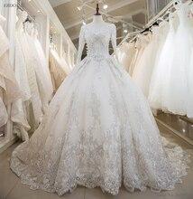Real Photo Vestidos De Novia Ball Gown Wedding Dress Boat Neck Neckline Chapel Train Plus Size With Lace Appliques Beaded