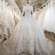 Real Photo Vestidos De Novia Ball Gown Wedding Dress For Bride Long Chapel Train Custom Made Plus Size With Lace Beading