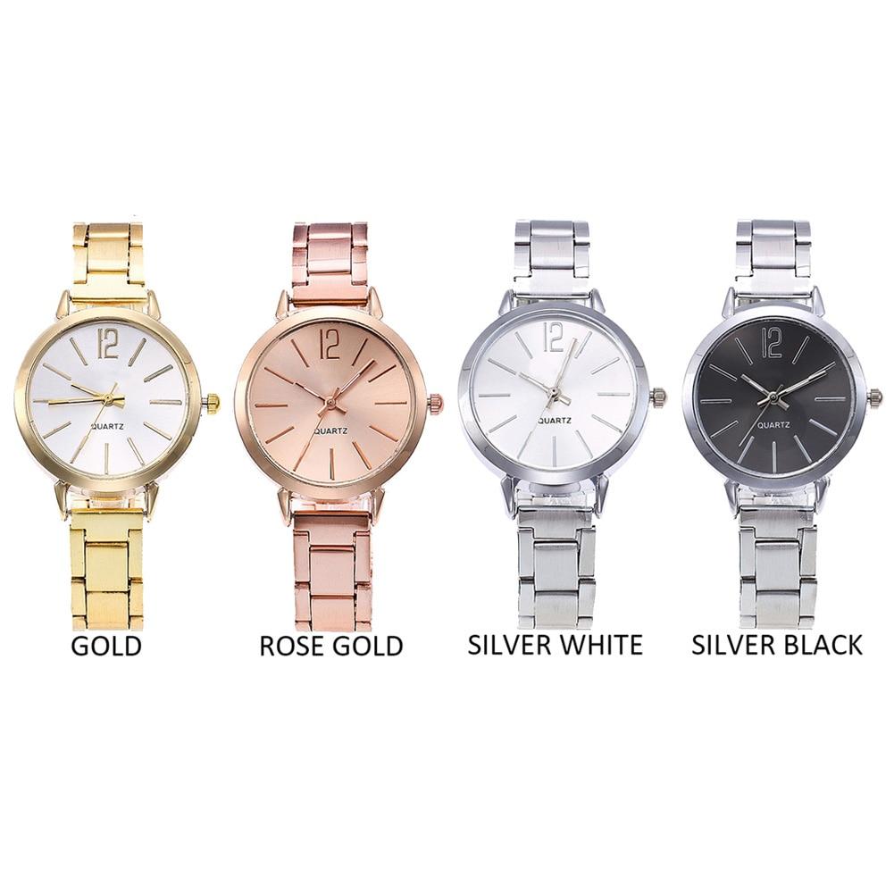 Women Lady Girl Wrist Quartz Watch Round Alloy Hour Hand Women Business Luxury Clock Metal Chain Watches Relogio
