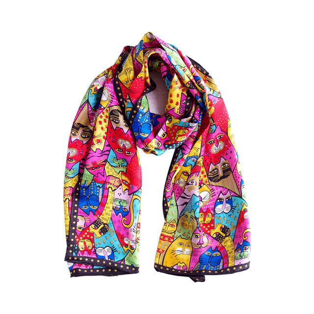 06eb194e9 Aishidis Women Long Pure Silk Neck Scarf Scarves Animal Painting Neckerchief  Satin Bandana Colorful Cats