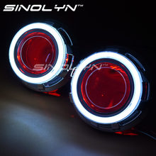 3.0 inch Metal HID Bi xenon Lens Projector Headlight H4 DRL LED Angel Eyes Halo& Demon Devil Eyes,USE D2H D2S Bulb Car Styling