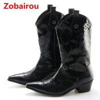 Zobairou 2018 новые модные ботинки Челси Черный Натуральная кожа военные корова мальчик сапоги мужские Красивые Зимние Сапоги до колена остронос