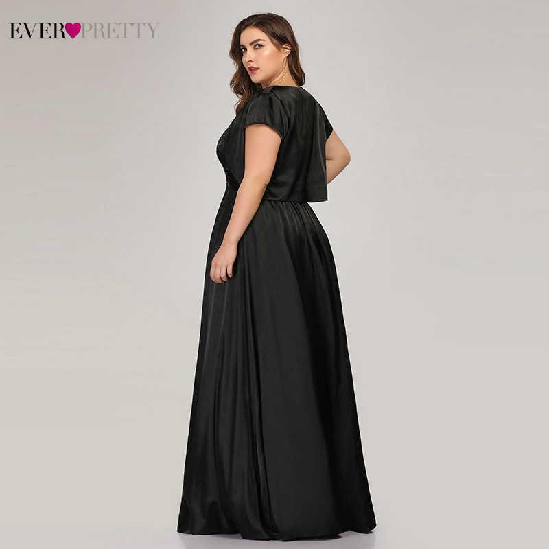 Siempre bonito Satén de tamaño grande Madre de la novia vestidos A-Line con chaqueta de encaje negro trajes para la cena EZ07726BK Vestido Madrina