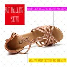 Diamond Salsa Dance Shoes Party Ballroom Ladies Aerobics Shoes Dancing Sneakers Flesh Color High Quality Teacher Discounts S-122