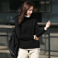 Spring Autumn Women double layer thick loose high neck bottoming shirt cotton art casual sweater