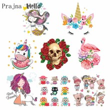 Prajna Cute Unicorn Bear Patches Iron On Transfers Heat Thermal Transfer Punk Skull Patch For T-Shirts Cartoon Decor Kids F