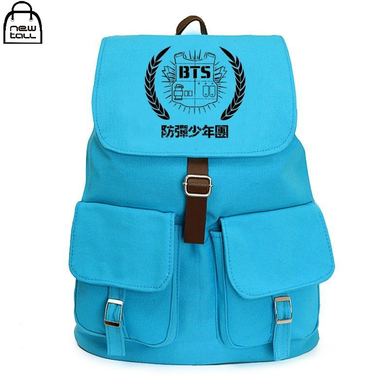 [NEWTALL] KPOP College BTS BANGTAN BOYS Canvas Backpack JIMIN SUGA V School Bag Travelling Bag Fans Collection N7061734 [pcmos] 2017 hot kpop bts bangtan boys army bomb ver 2 light stick a limited edition concert lamp fans gift collection 17031664