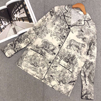 Women Print Jacket Summer 2019 Office Ladies Long Sleeve Jacket Fashion High Quality Silk Jacket Outwear