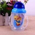 1 PC Bebê Recém-nascido Da Criança Infantil Crianças Copo Alça Crianças Bonito Aprender Alimentação Palha Lidar com Garrafa de Água Potável Copo Com Canudinho 300 ML