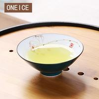 ONEICE Chinese Style Delicate Handmade Small Kung Fu Tea Cup Jingdezhen Rough pottery Tea bowl Hand Painted Lotus Cup
