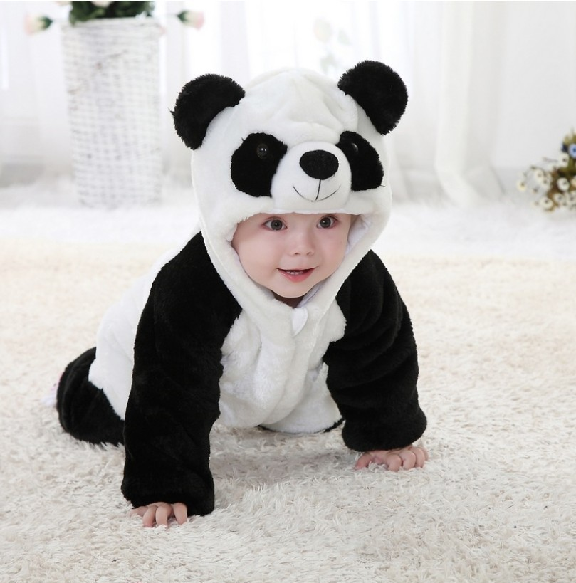 2015 New Autumn And Winter Panda Romper Suit Hooded Jumpsuit Baby Boy Clothes Newborn Unisex Costume Girls Character Roupas autumn baby rompers brand ropa bebe autumn newborn babies infantial 0 12 m baby girls boy clothes jumpsuit romper baby clothing