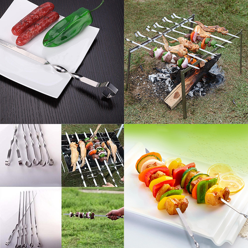 JX-LCLYL 6pcs Stainless Steel Barbecue Kebab Flat Skewers BBQ Grilling Needle Tool