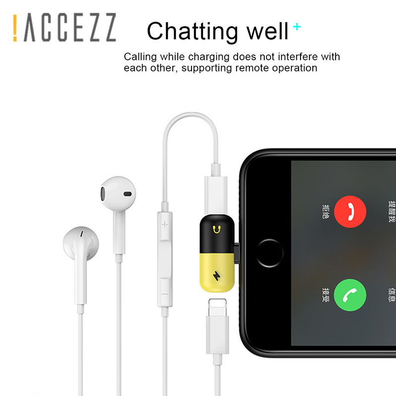 !ACCEZZ Mini Pill Shape 2 3 IN 1 Dual Lighting Fast Charge&Headphone Adapter For Iphone X 8 7 Plus Jack To Earphone AUX Splitter